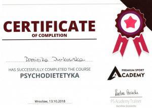 Certyfikat ukończenia kursu z Psychodietetyki