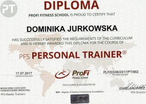 Certyfikat ukończenia kursu Trenera Personalnego PFS