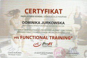 Certyfikat ukończenia szkolenia z Treningu Funkcyjnego