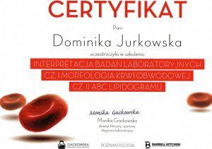 Certyfikat ukończenia szkolenia z