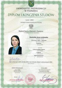Dyplom ukończenia studiów magisterskich na Uniwersytecie Przyrodniczym w Poznaniu